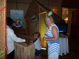 Diane Ivey tries her hand at the Gilligan's Island booth.